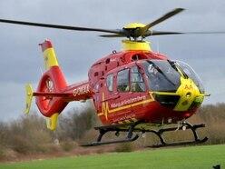 Air ambulance lands in Market Drayton as police close road