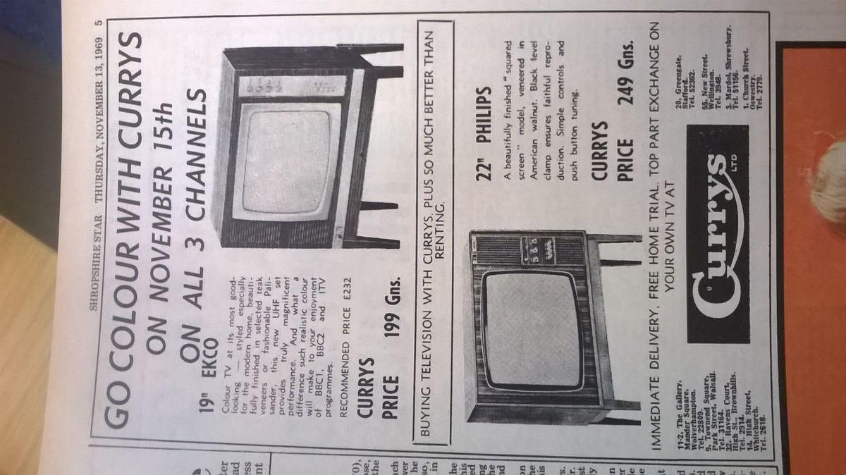 Currys advert from 1969 ­– even by this time, colour sets cost upwards of £200