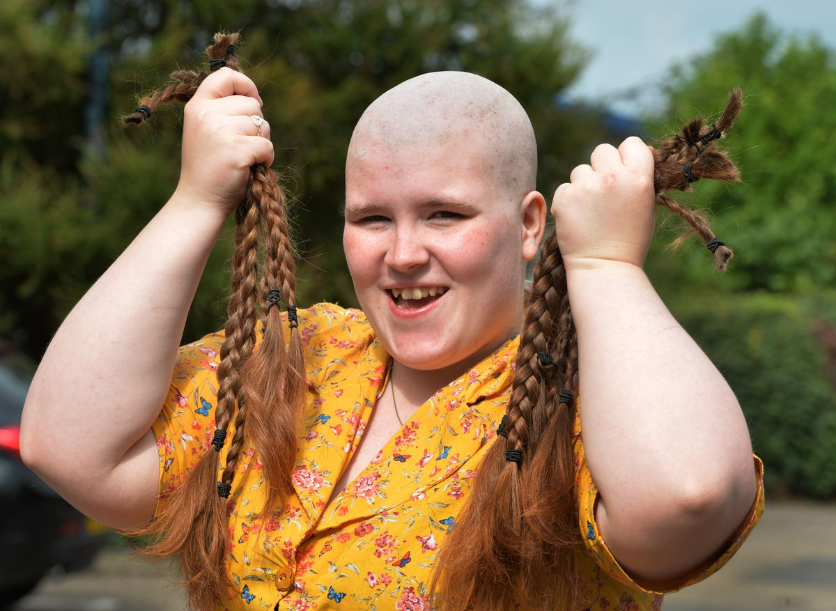 Braving The Shave for charity, Miriam Emmas, at the Gingerbread Man, Market Drayton