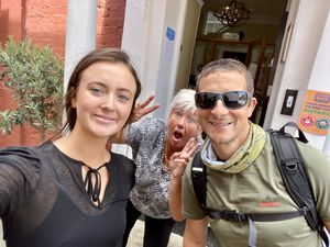Ellie Ferguson (left) and Tracy Plant (middle) of Darwin's Townhouse, with TV survival expert Bear Grylls