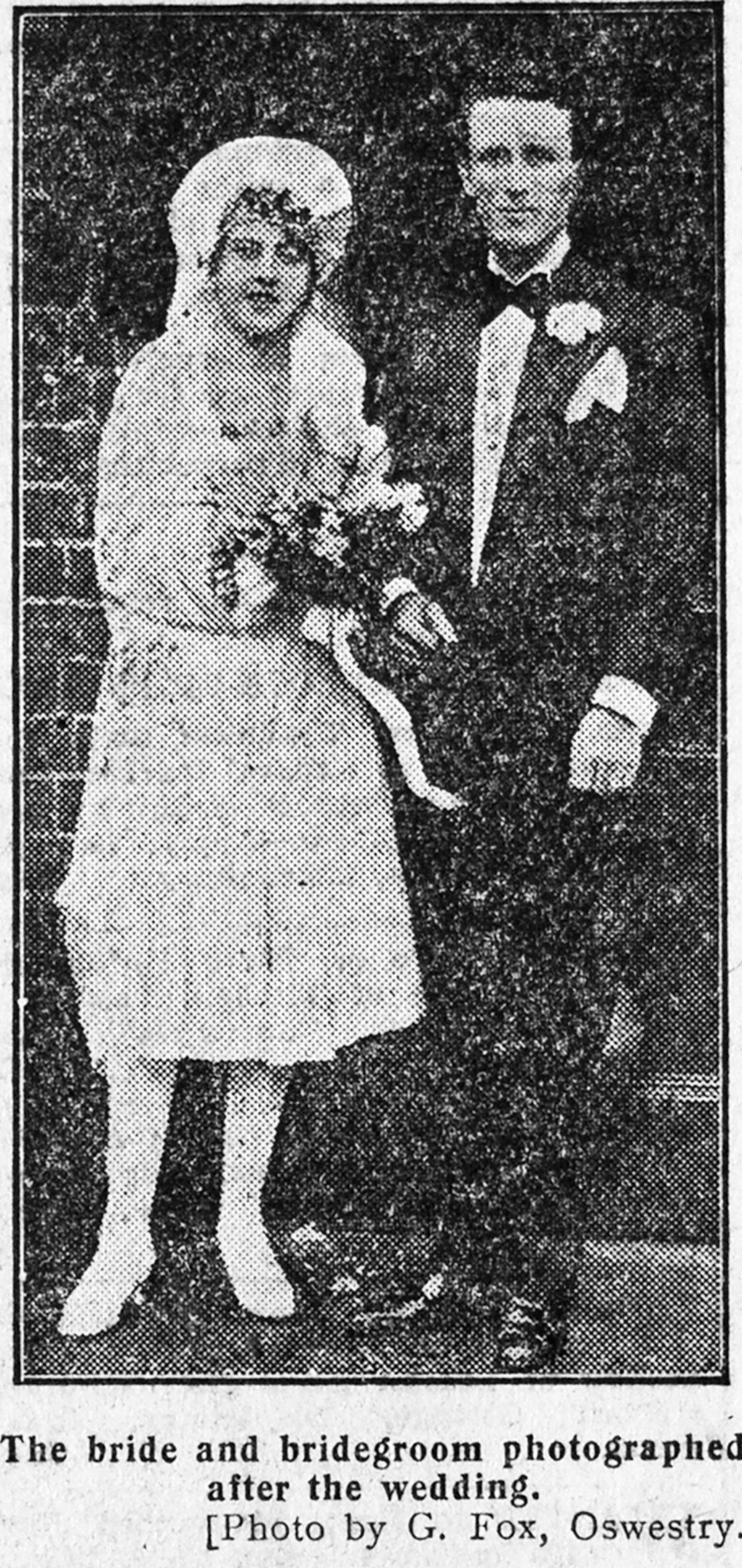Olwen and Aldo Gucci's marriage at Oswestry in 1927