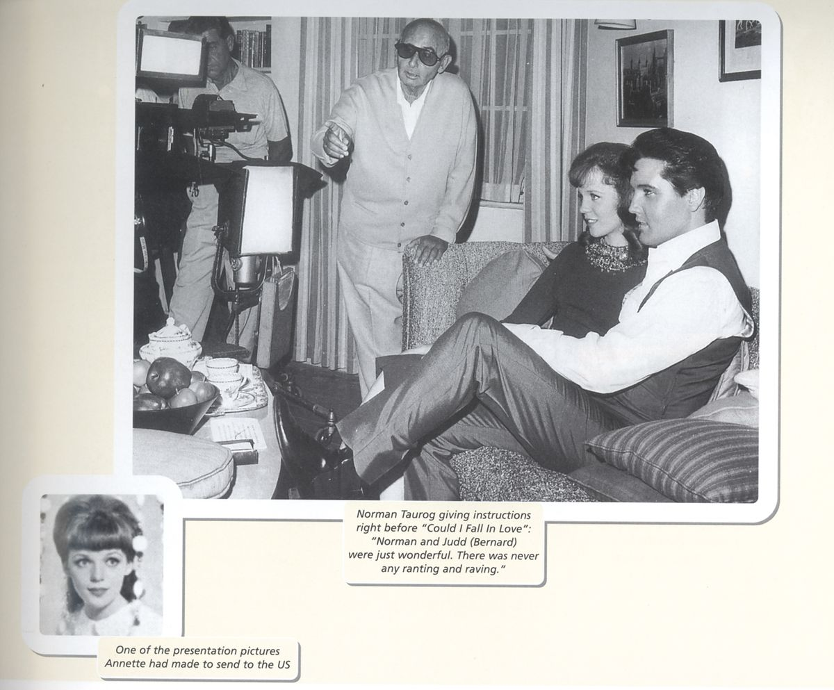 Annette and Elvis off camera, while director Norman Taurog set up their scene