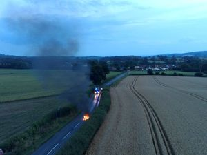 A still from the drone footage of the fire