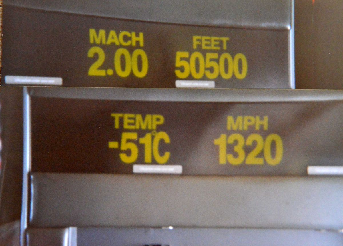 The display screen on Alan Beckett's flight when it reached Mach 2, twice the speed of sound
