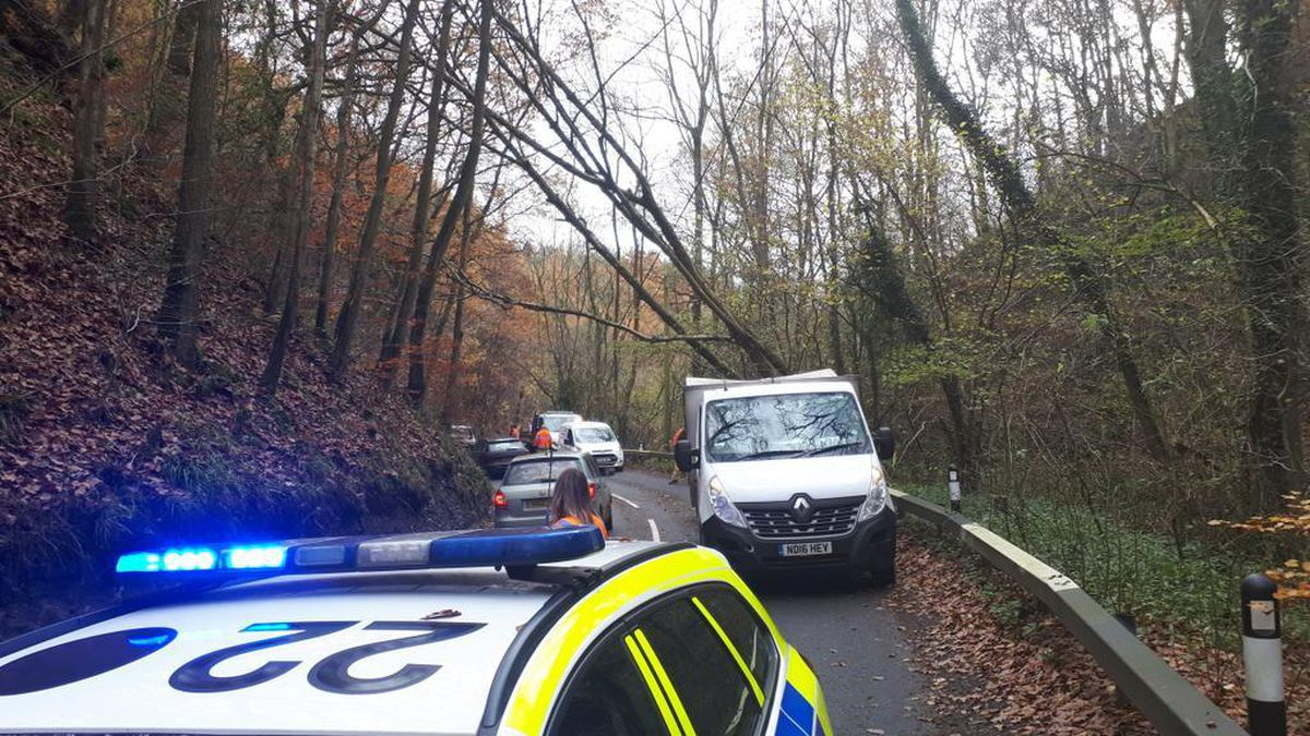 Disruption on the A488. Pic: @SouthShropCops