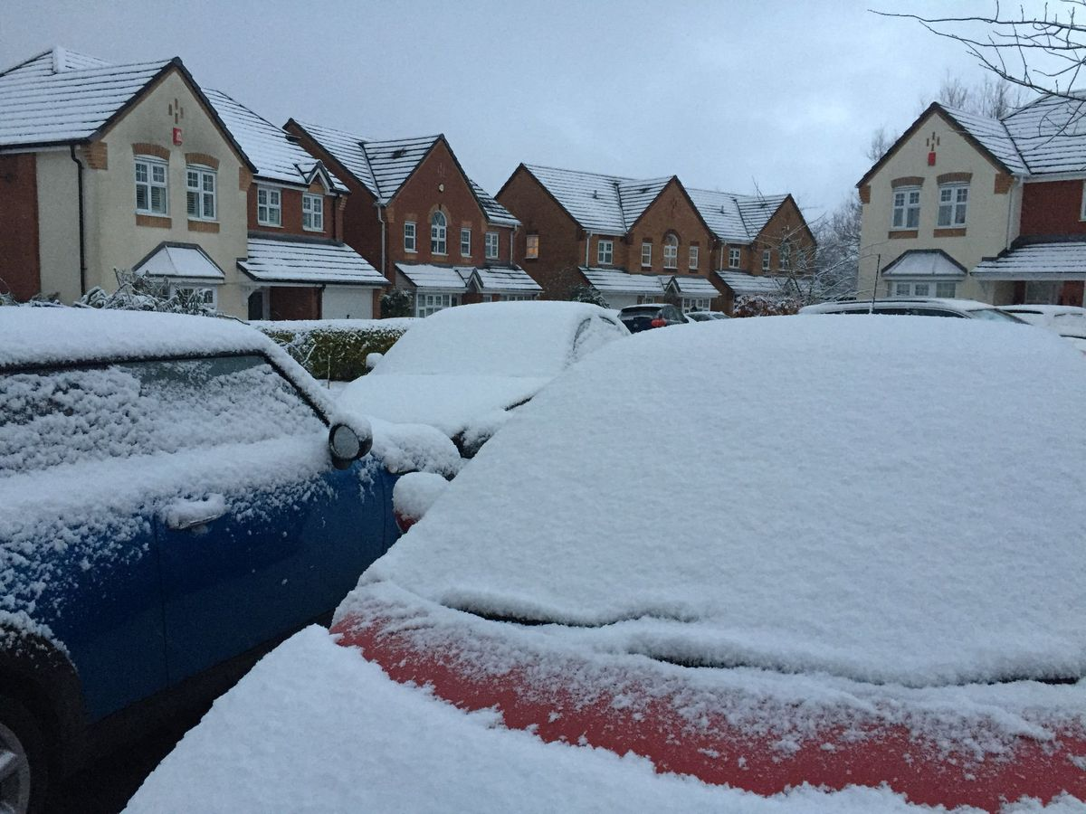 Cars covered in snow in Priorslee