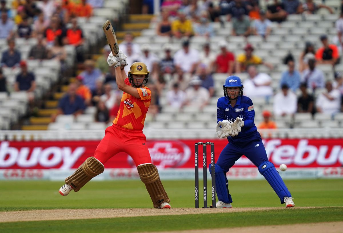 Birmingham Phoenix's Eve Jones (left) batting during The Hundred match at The Kia Oval, London.