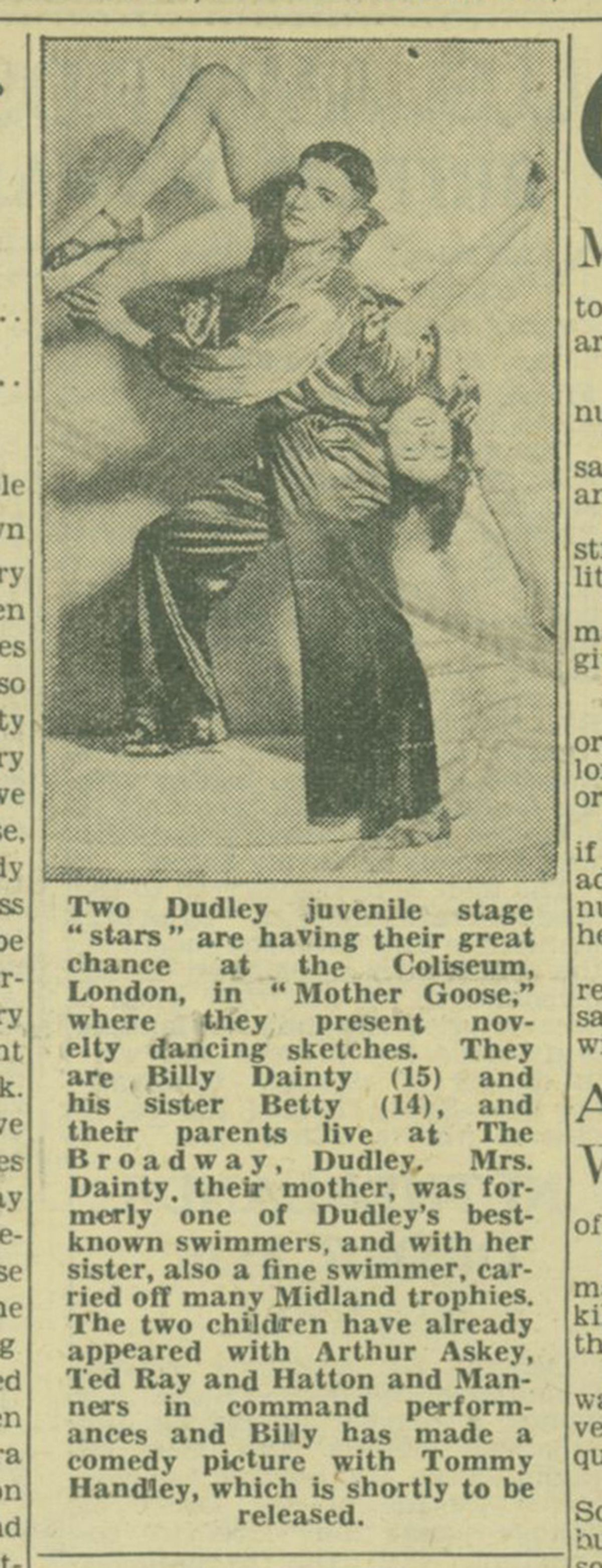 How the Express & Star reported 15-year-old Billy Dainty's performance at the London Coliseum, with his sister Betty
