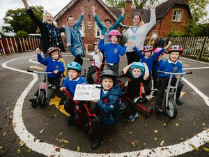 Children from Weston Lullingfields CE Primary School are overjoyed after they were gifted a new trike track