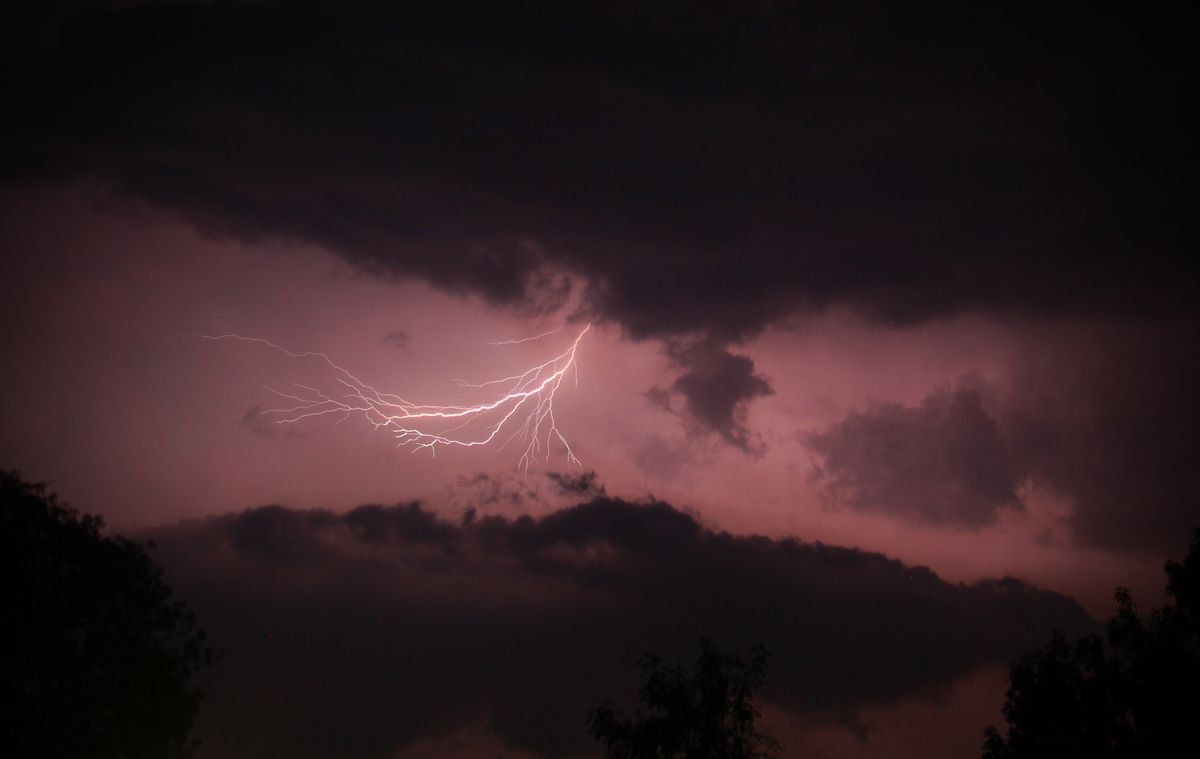 This eerie shot of lightning above Trinity Church, Telford, in Trench, was submitted by local videographer/photographer Andrew Galloway. Photo: Andrew Galloway