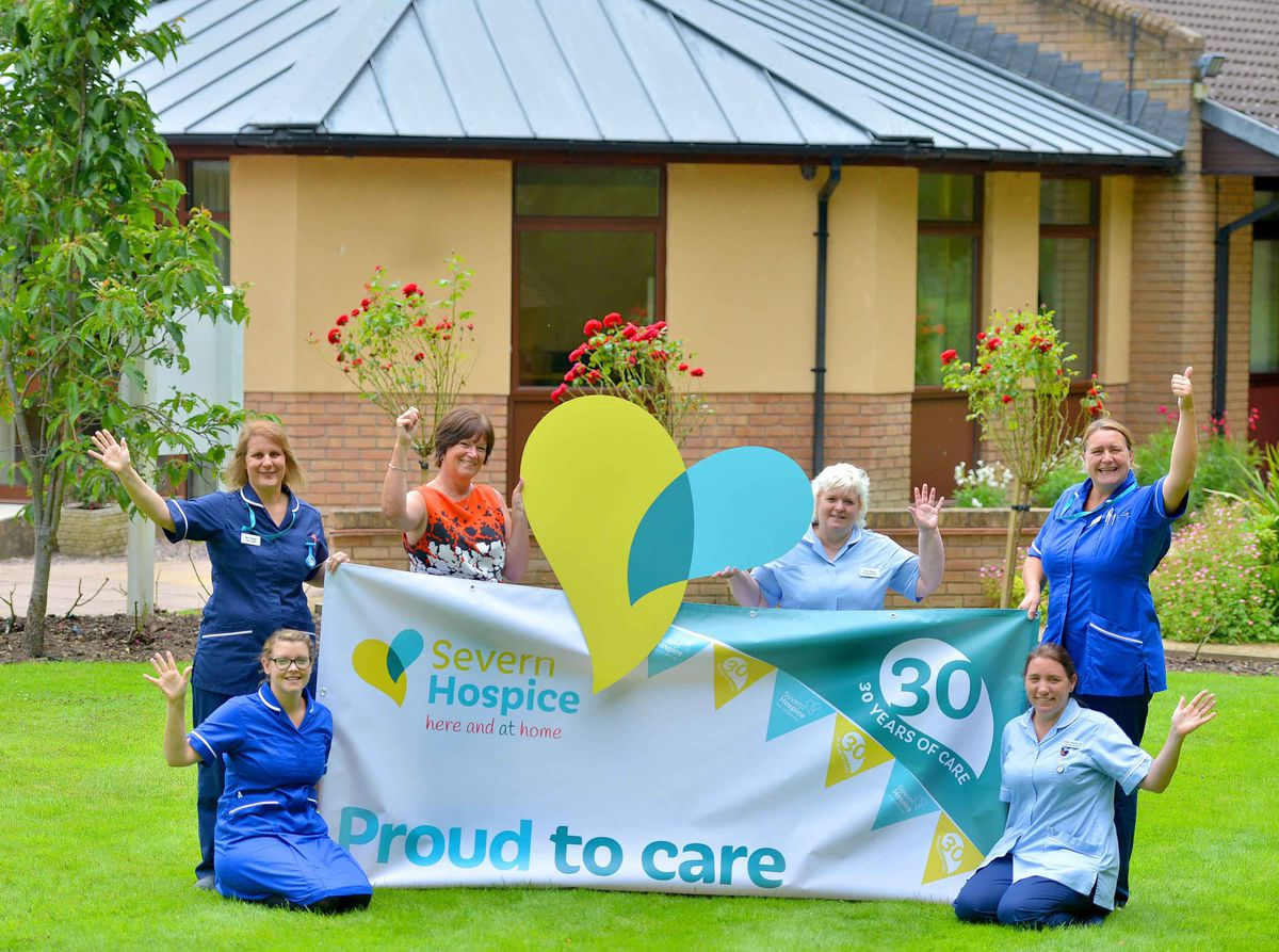 Isla Conway and Claire Mundy-Gill, kneeling, and Zoe Thomas , chief executive Heather Palin, Jean Risdon and Caroline Underwood celebrate the 30th anniversary of Severn Hospice.