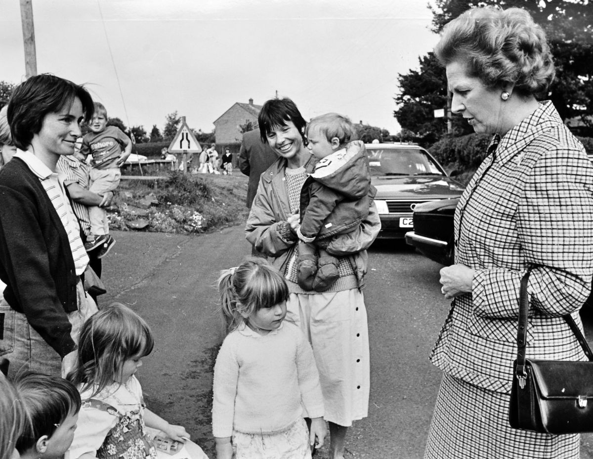 On a surprise visit to Edgmond, Shropshire,  in June 1989 she took a grandmotherly interest in youngsters and parents gathered in Shrewsbury Road