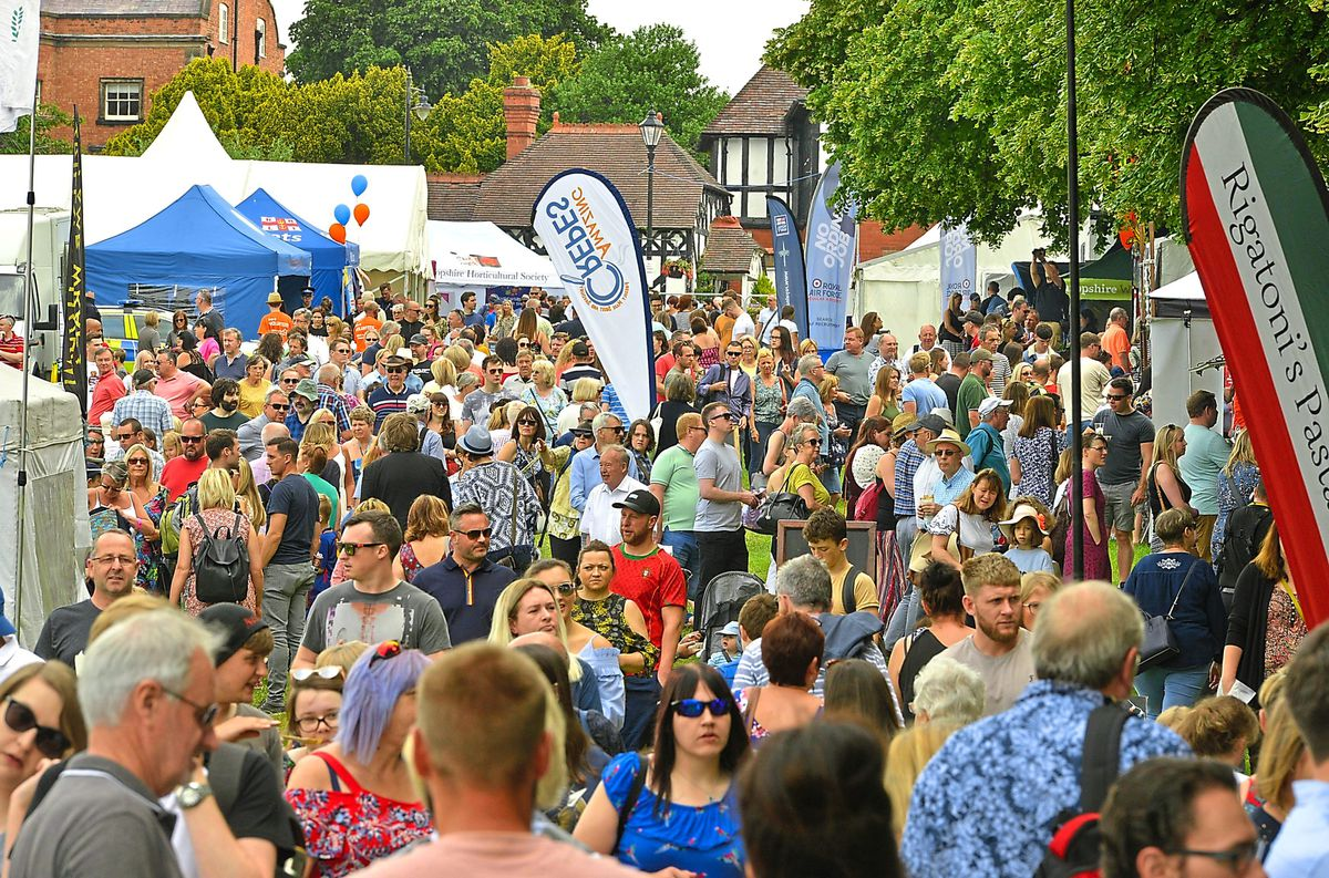 Crowds at the Shrewsbury Food Festival in 2018