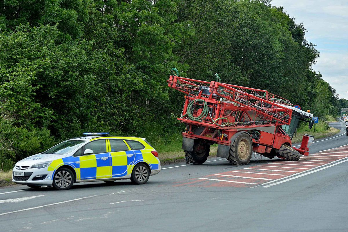 A farm vehicle lost its wheel on the A5 next to the West Felton turn by Oswestry