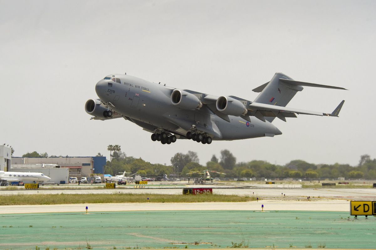 A stock photo of one of the RAF's massive Globemaster transporters