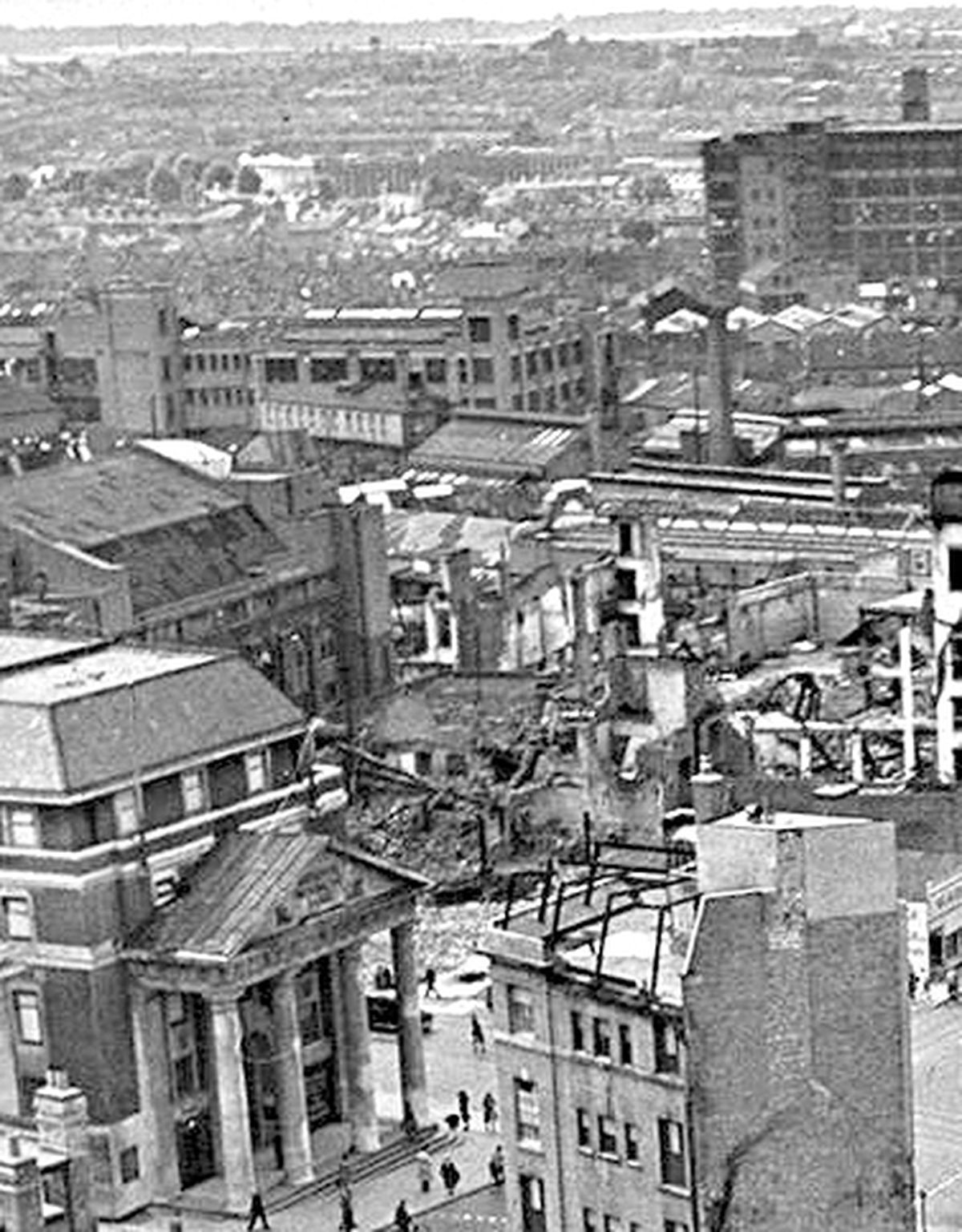 Aftermath of the Blitz on Coventry, November 1940.