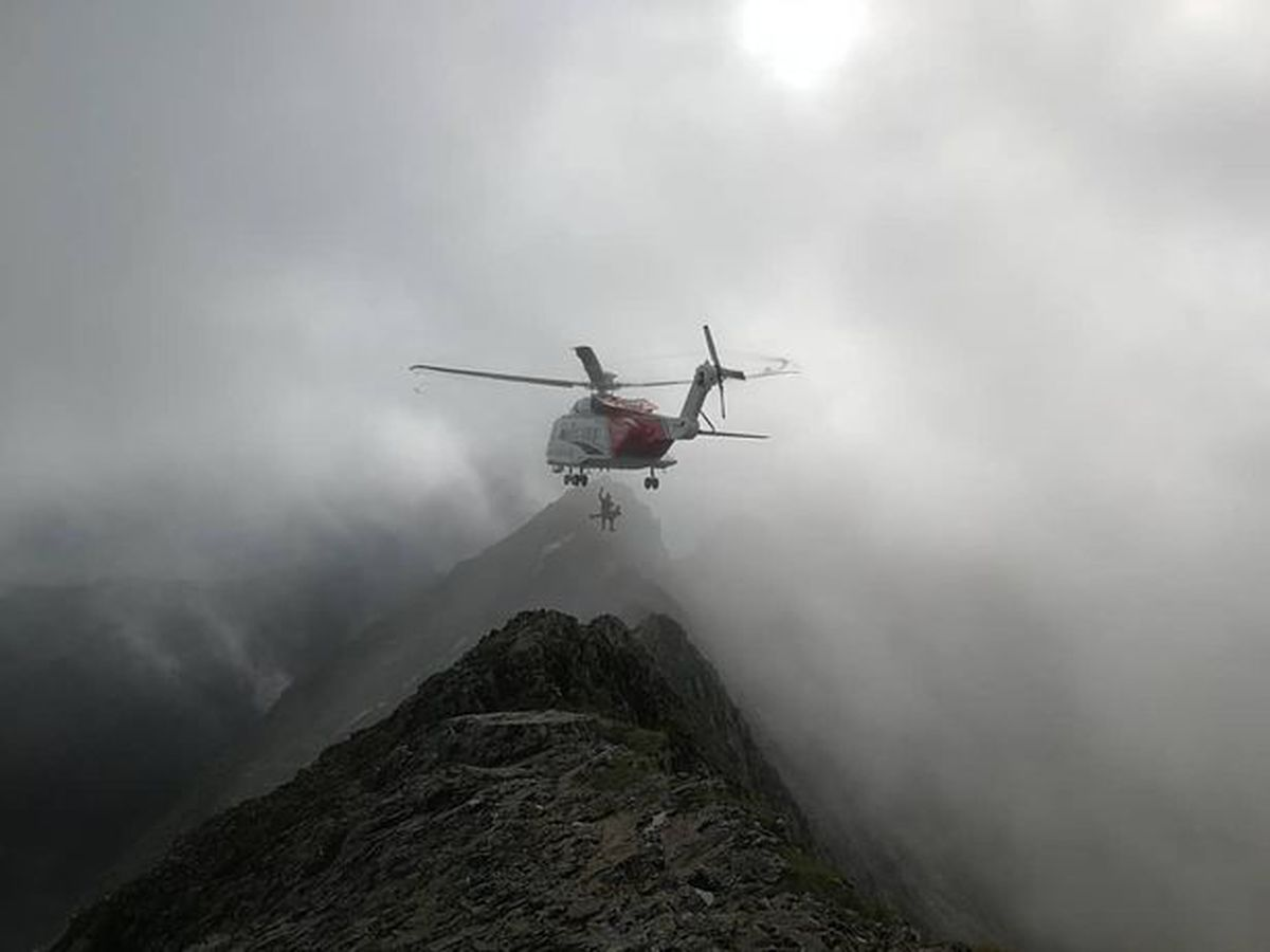 A coastguard helicopter and mountain rescue volunteers attended. Picture: Oliver Cain/Llanberis Mountain Rescue Team