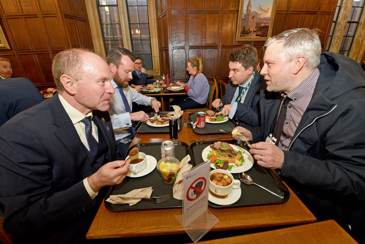 Finding time for lunch in one of Westminster's many canteens. A meal is less than £10.