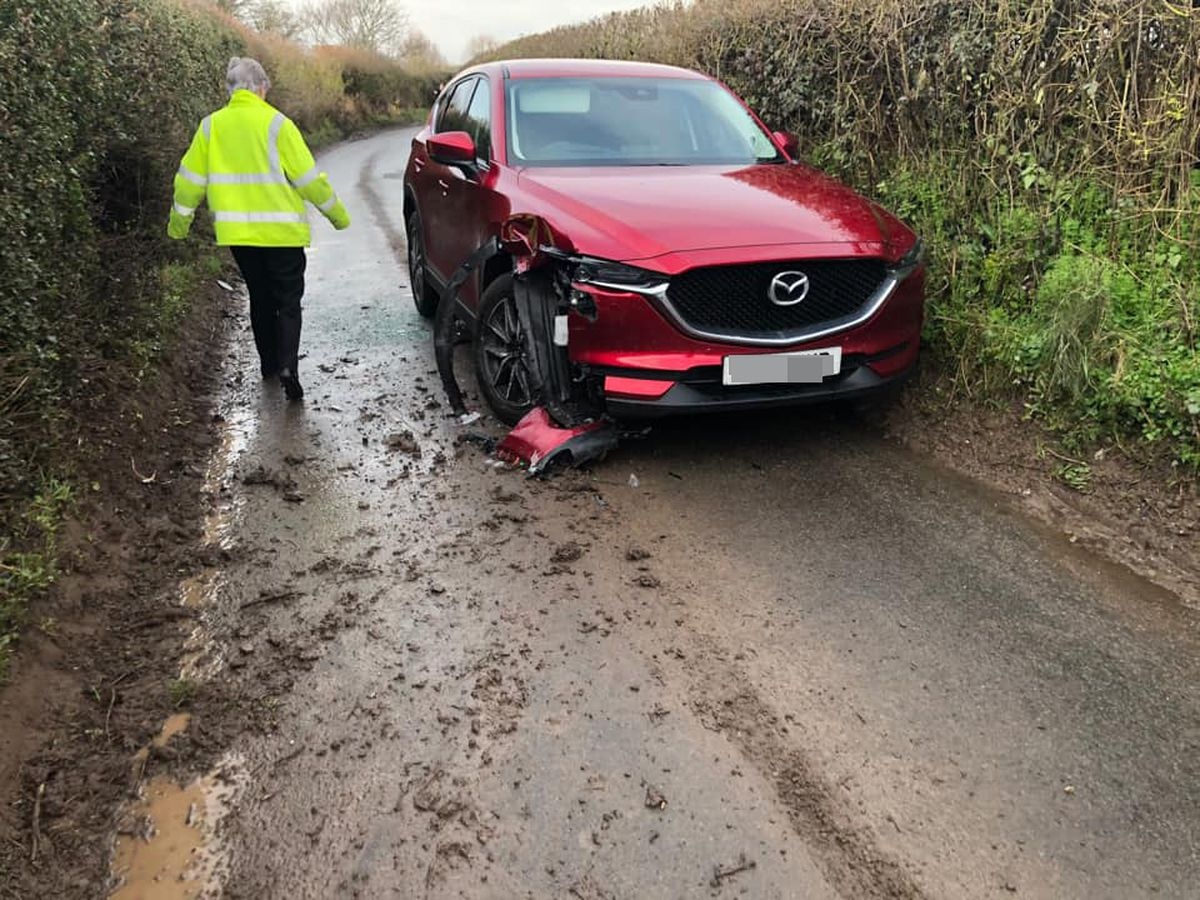 The red Mazda was left with more than £10,000 worth of damage