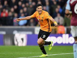 Raul Jimenez of Wolverhampton Wanderers celebrates after scoring a goal to make it 2-0. (AMA/Sam Bagnall)