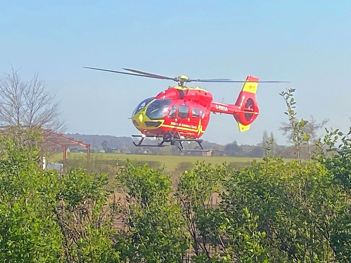 An air ambulance from Cosford was sent to the crash. Photo: Market Drayton Fire Station