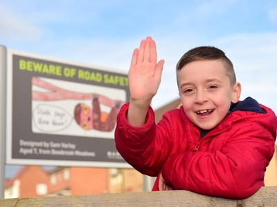 Drivers on new Shrewsbury estate urged to slow down thanks to Sam's artwork