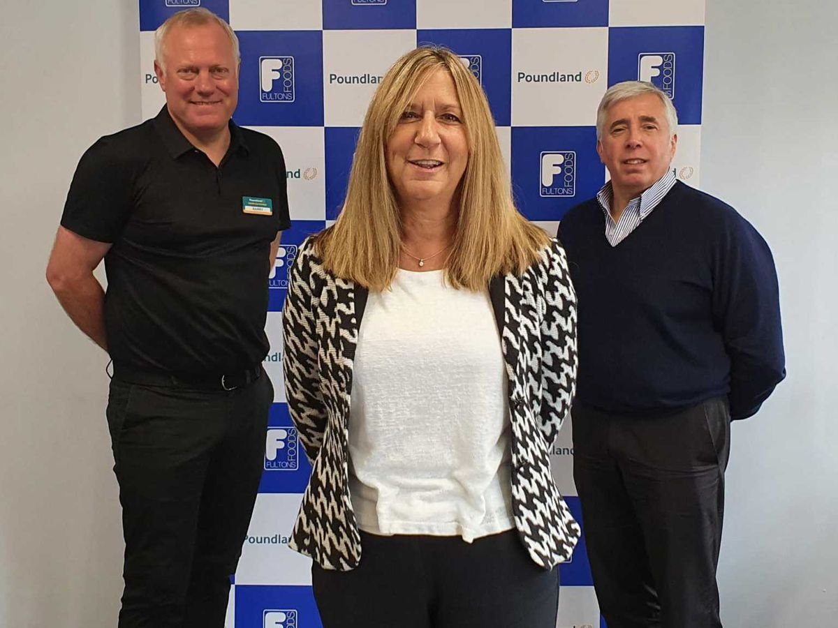 From left, Poundland managing director Barry Williams, Fultons MD Karen Rees and chairman Kevin Gunter