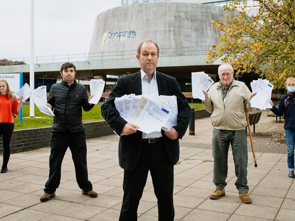 Handing over the responses to Shropshire Council at Shirehall in Shrewsbury are, from left, Shannon Cox, Rob Davies, James Healy, Pryce Brayne and Harriet Devlin