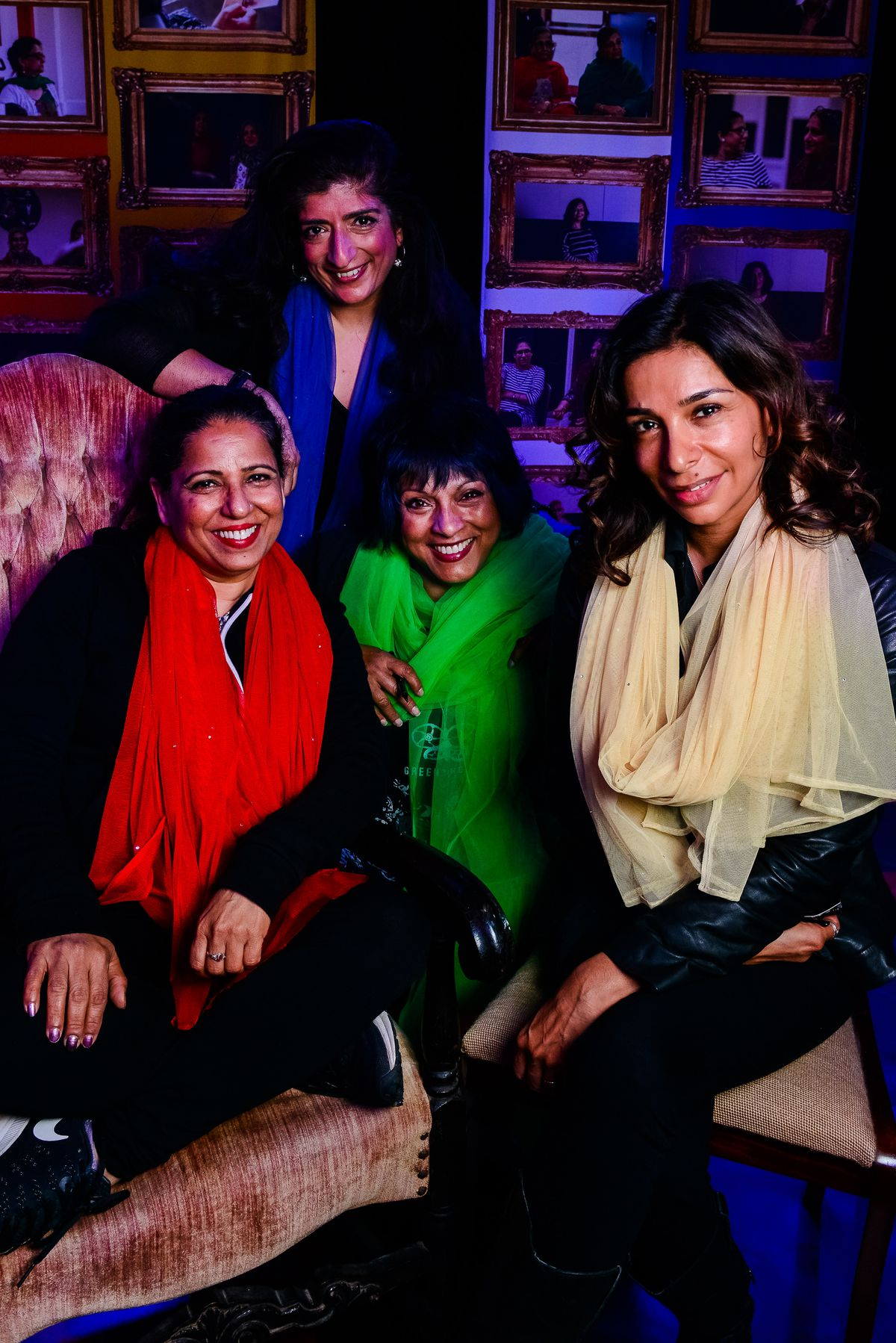 Shobna, right, at Wolverhampton's Newhampton Arts Centre in 2017 for Mother Tongues From Farther Lands with, from left, Shobu Kapoor, Sajeela Kershi and Shyama Perera