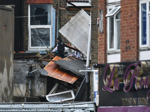 The scene of a suspected gas explosion on King Street in west London
