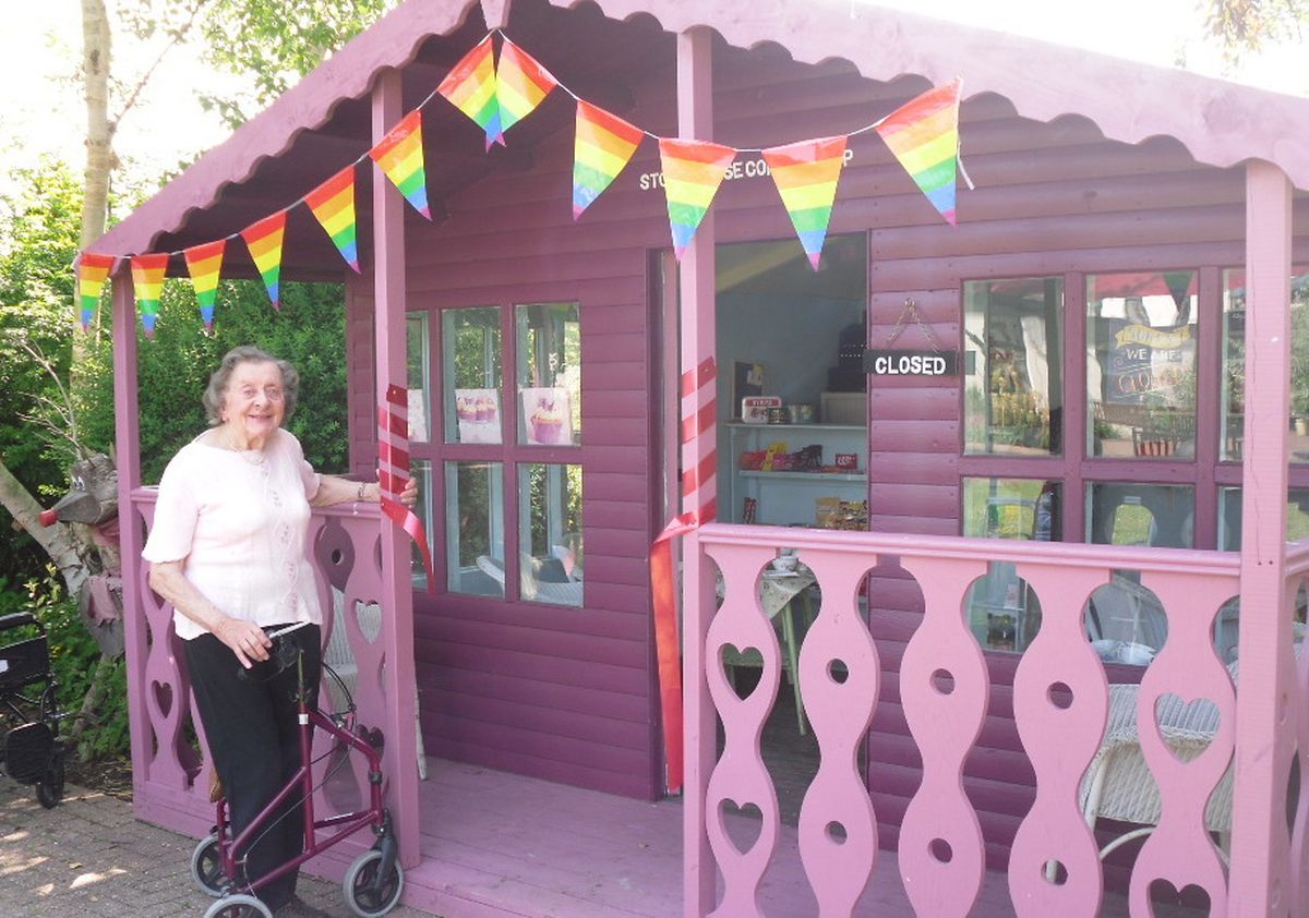 Stone House resident Mary Abbey at the shop