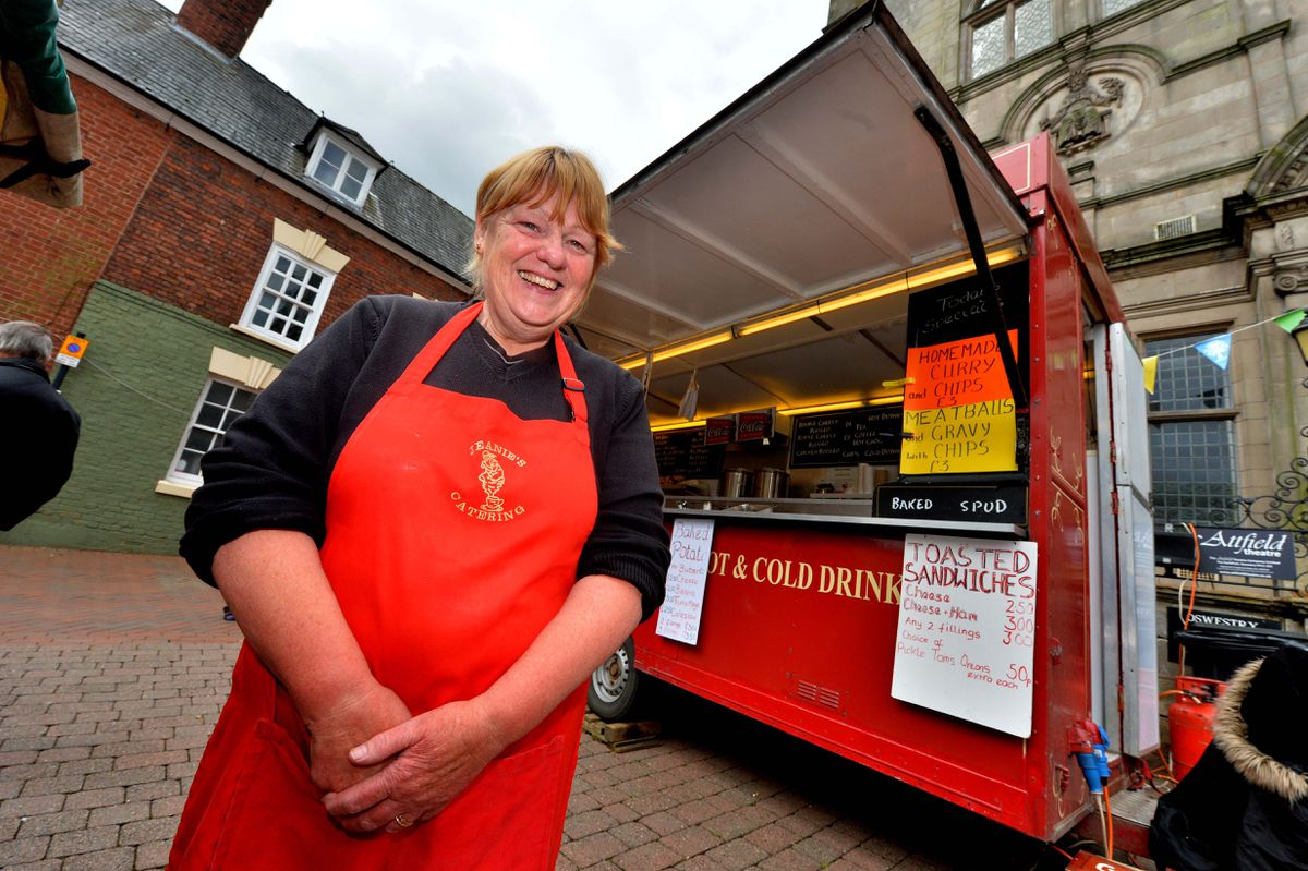 Sandra Edge had customers to serve at Jeanies Catering
