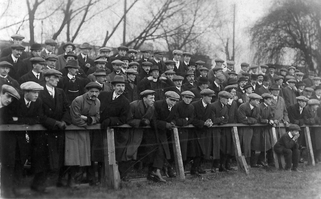 The old days – fans stand up to watch Shrewsbury at Gay Meadow