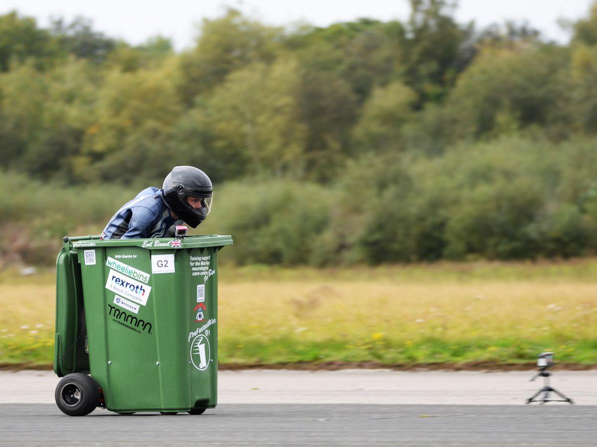 Andy Jennings in his wheelie bin