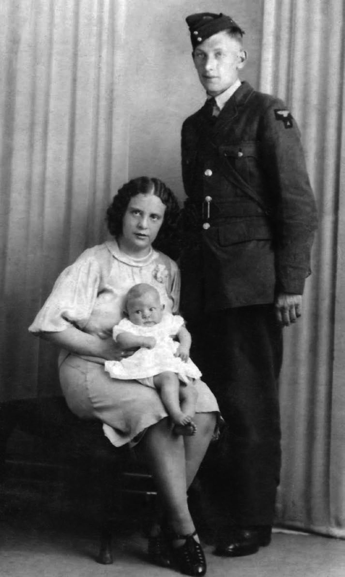 John Jackson with wife Hilda and their first child, Hazel, who was born in May 1939. Picture: Julian Spragg.