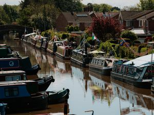 LAST COPYRIGHT SHROPSHIRE STAR JAMIE RICKETTS 12/05/2019 - Floating Market on Shropshire Union Canal in Market Drayton. *PLEASE NOTE - Wasn't allowed access from road as it was closed off for 10K race. Had to take photos from bridge*....