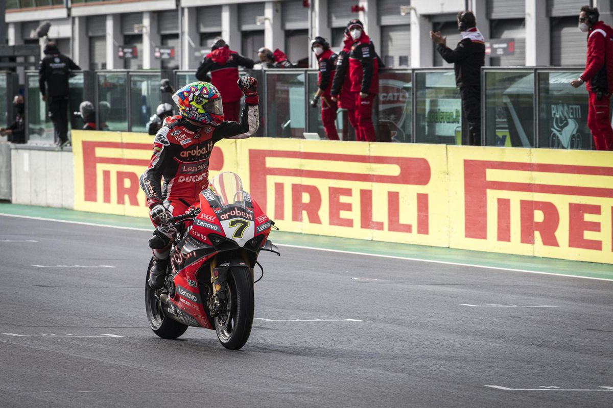 Davies waves to the crowd after maintaining third in the championship