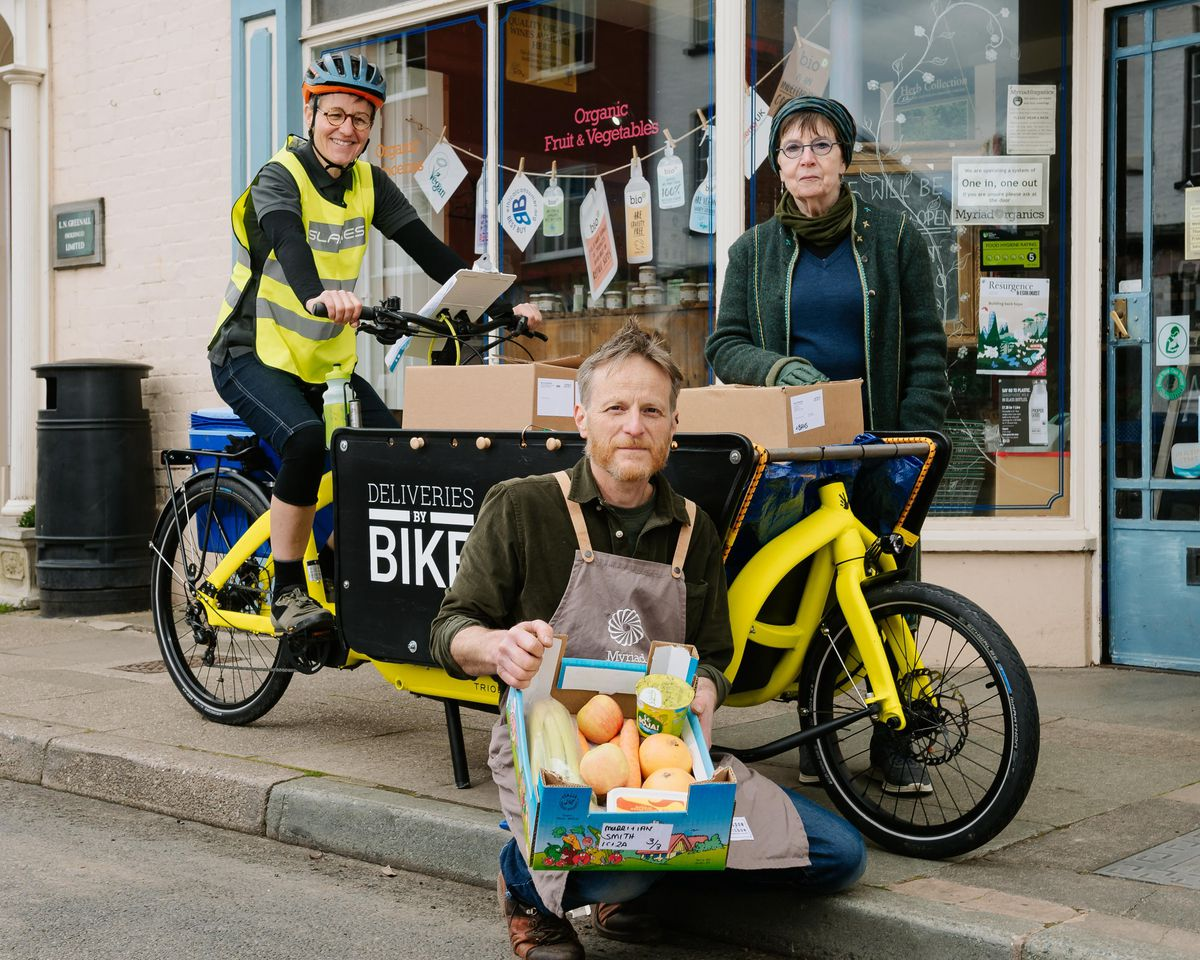 Isla Roundtree, owner of Islabikes, Pete Lawley, co-owner of Myriad Organics, and Kim Holroyd of Ludlow 21 with a cargo bike
