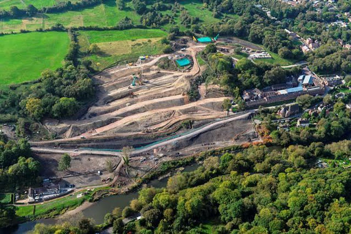 An aerial view of stabilisation work at Jackfield.