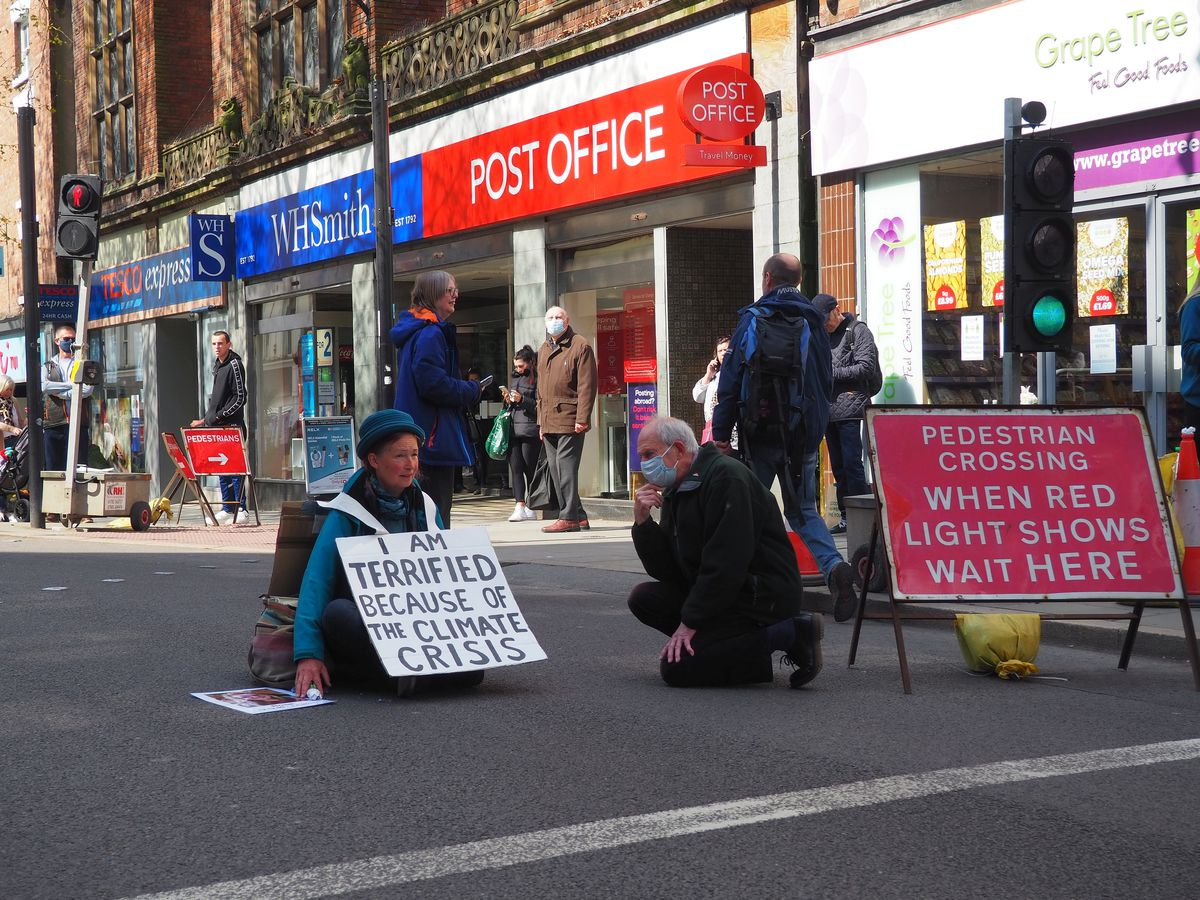 The protester 'Beth' blocked Castle Street on Saturday and caused several buses to be delayed