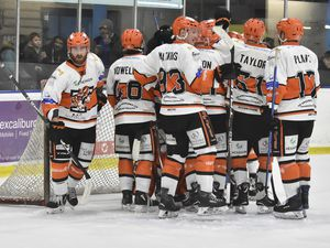 Players congratulate each otherSwindon Wildcats v Telford Tigers 22/2/20 by Steve Brodie