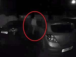 CCTV shows a man trying car doors near Oswestry