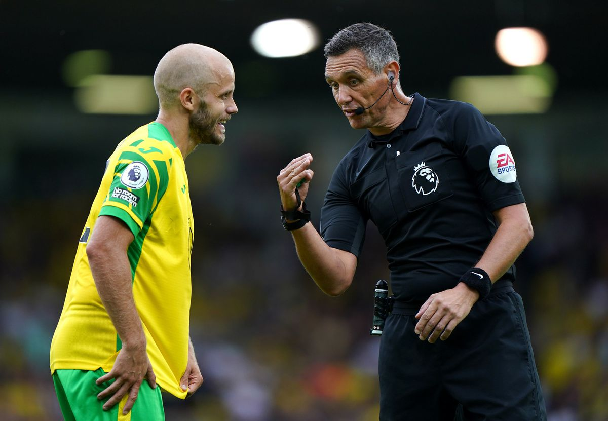Norwich City's Teemu Pukki with referee Andre Marriner