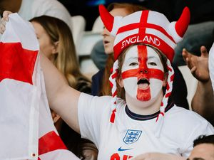 England fans watch the match at the New Bucks Head in Telford