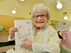 107 and still going strong! Birthday girl Gladys sent 95 cards