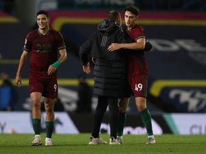 Nuno Espirito Santo the head coach / manager of Wolverhampton Wanderers congratulates Max Kilman after the 0-1 victory (AMA)