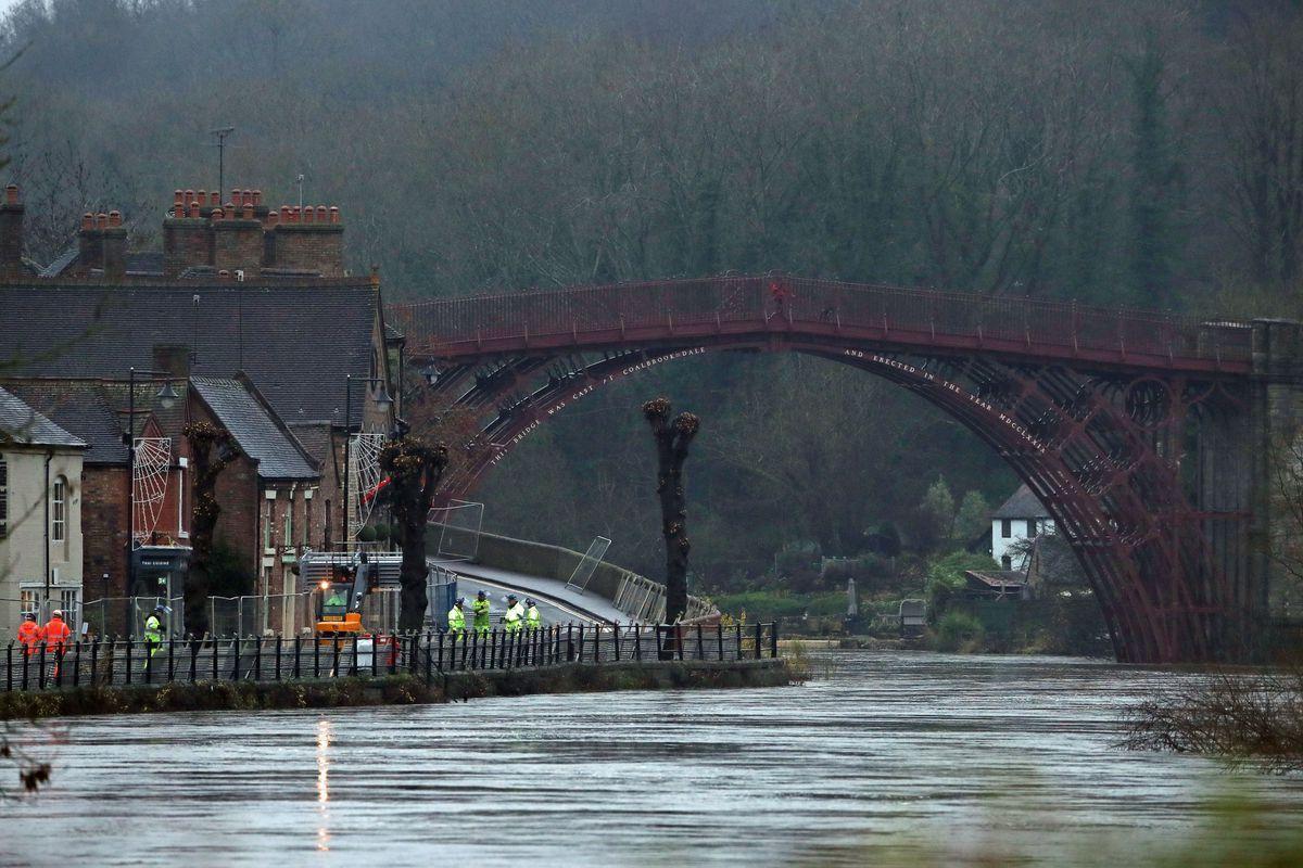 Flood barriers in Ironbridge