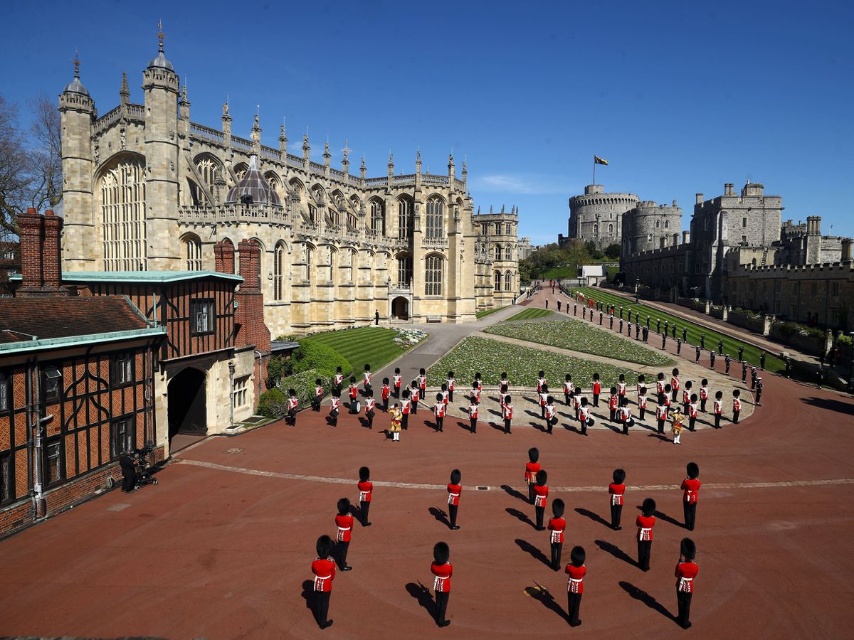 Members of the military outside St George's Chapel, Windsor Castle, Berkshire