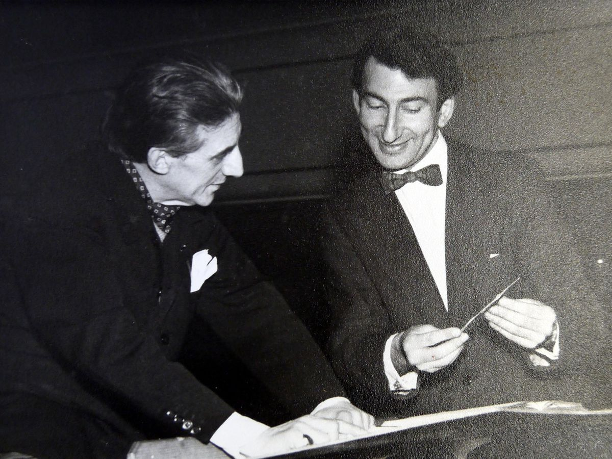 Before the fall-out: Malcolm with Halle Orchestra principal conductor Sir John Barbirolli