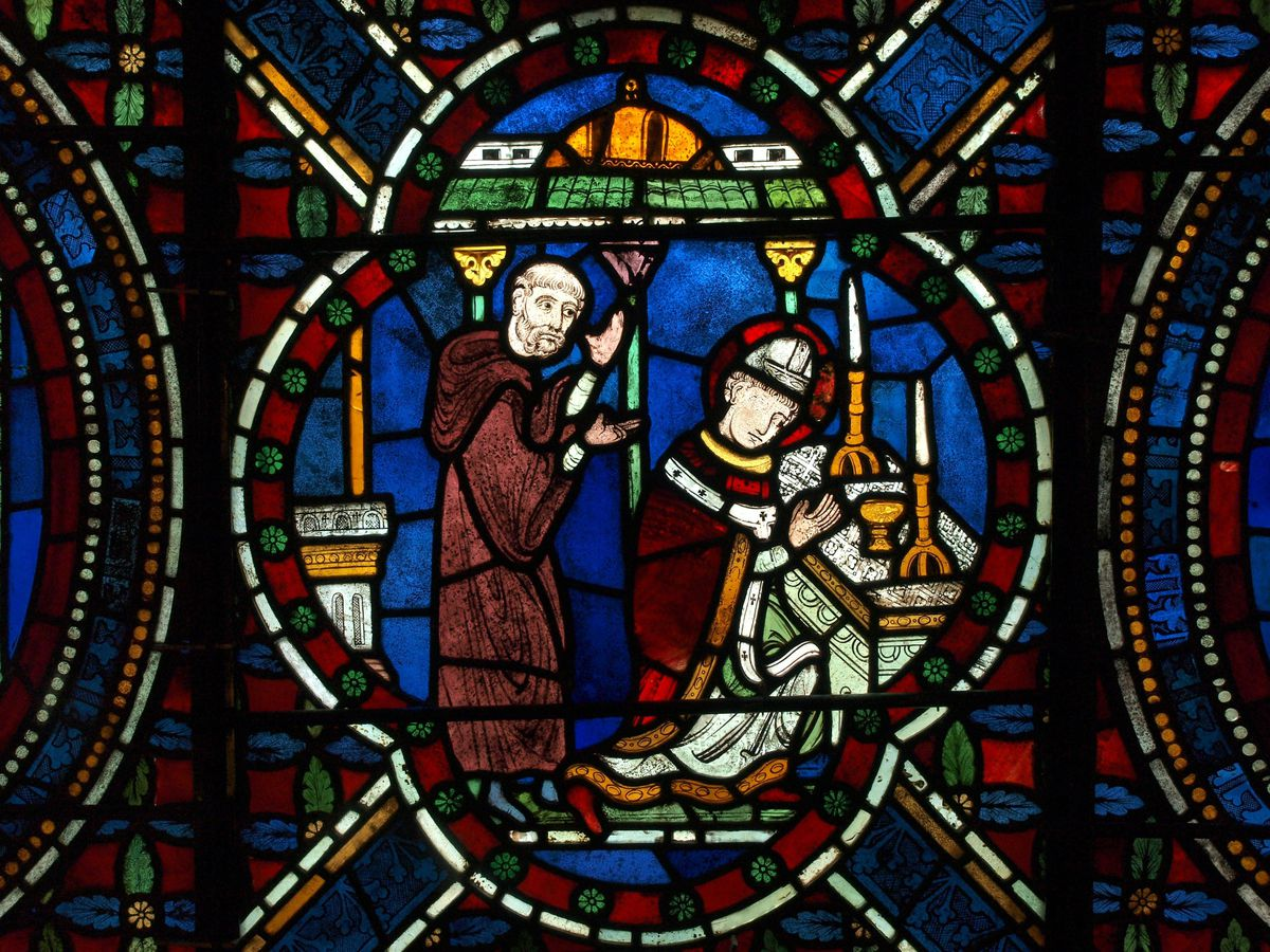 A stained glass image of St Thomas Becket at Canterbury Cathedral